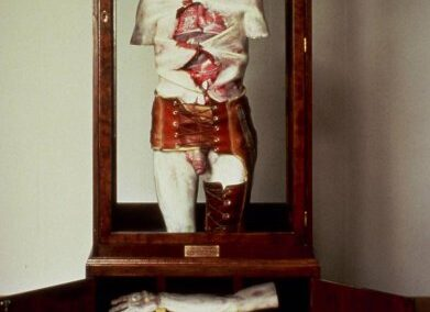 """Angelo's Retirement, Geppetto's Revenge, 1977 Mixed media, polyester resin and fiberglass. 30"""" X 27.5"""" X 72"""""""