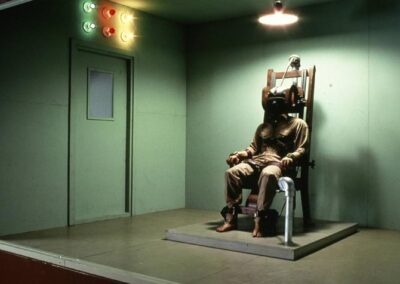 """Death in the Chair, 1973 (mixed media, polyester resin and fiberglass, with a mechanical action; the figure """"jolts"""" when a lever is pulled. Dimensions are 144"""" X 132"""" X 120"""")"""