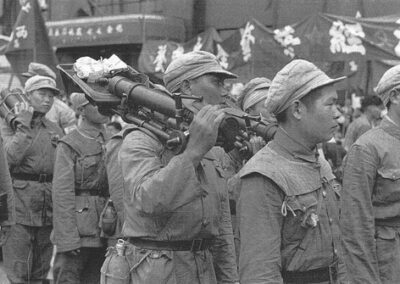 People's Liberation Army marching in Liberation Parade in Nanking Road, July, from Shanghai 1949: The End of an Era, 1949