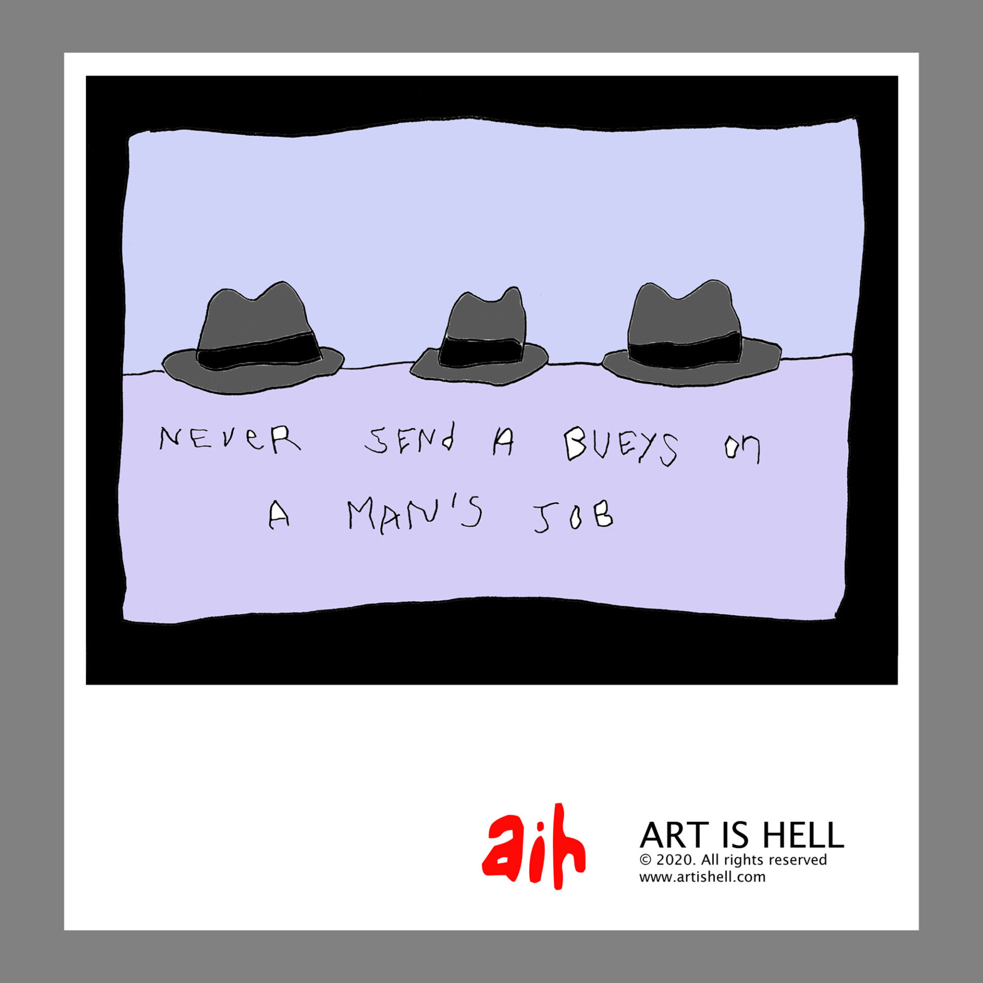 Never Send A Beuys on a Man's Job (purple). 24 x 20 inch poster. CA$ 30.00
